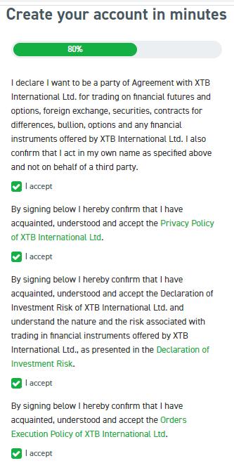 Accept policies XTB