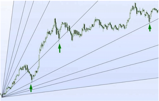 Gann angles in a price chart