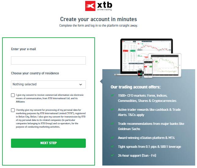 XTB account opening