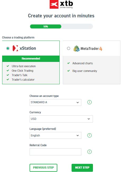 Platform and account selection XTB