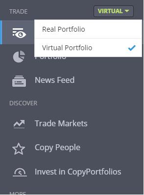 Virtual mode eToro
